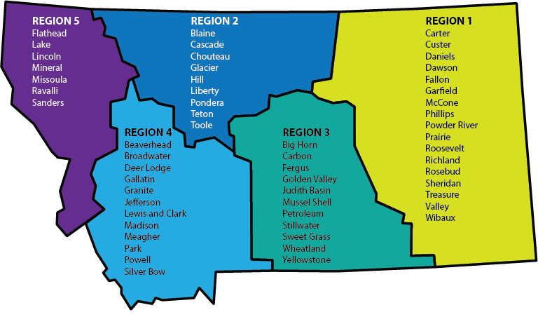 Montana map with 5 regions and counties listed